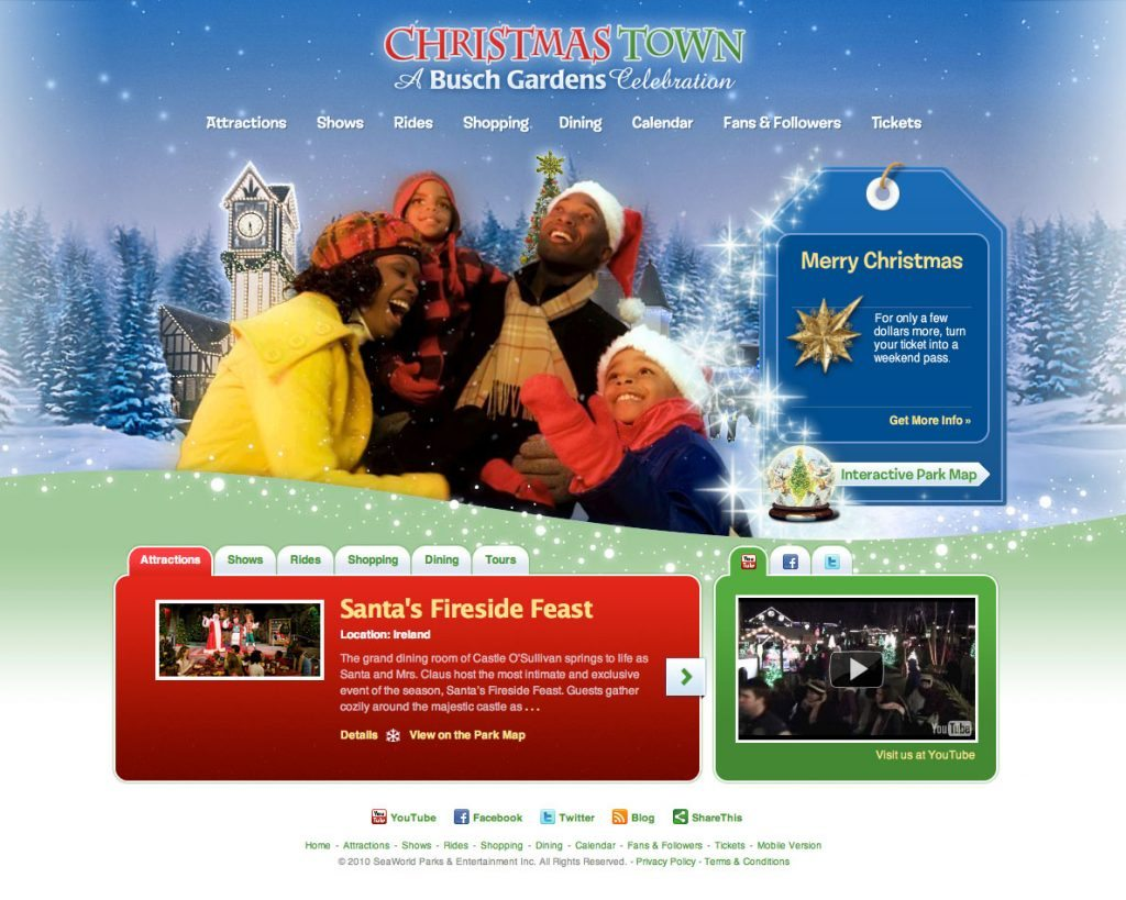 Busch Gardens Williamsburg ChristmasTown Website